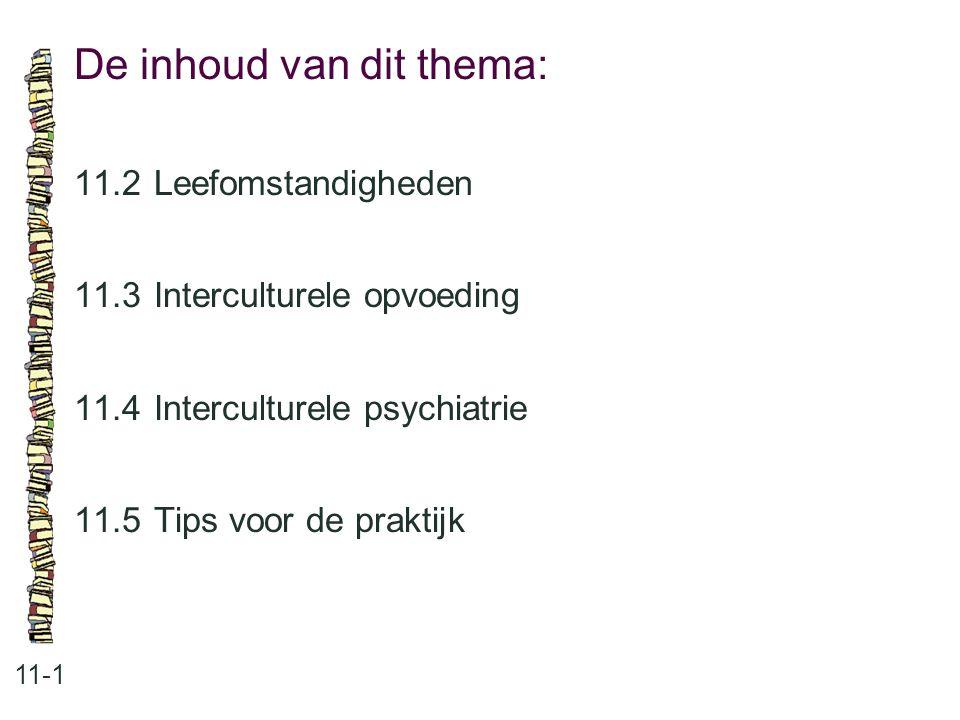 De inhoud van dit thema: 11-1 11.2 Leefomstandigheden 11.3 Interculturele opvoeding 11.4 Interculturele psychiatrie 11.5 Tips voor de praktijk