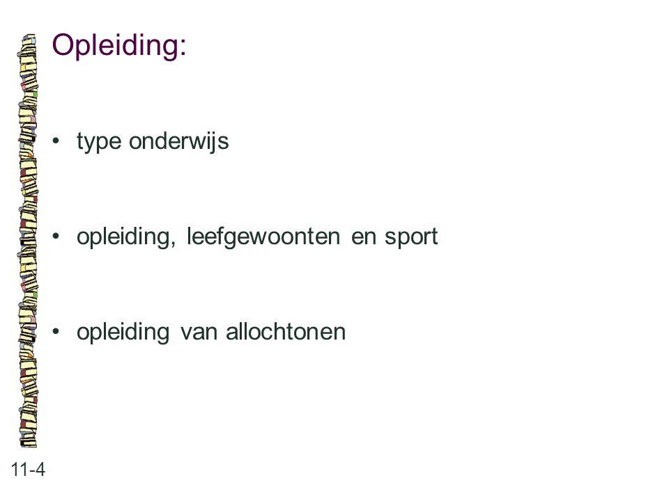 Opleiding: 11-4 type onderwijs opleiding, leefgewoonten en sport opleiding van allochtonen