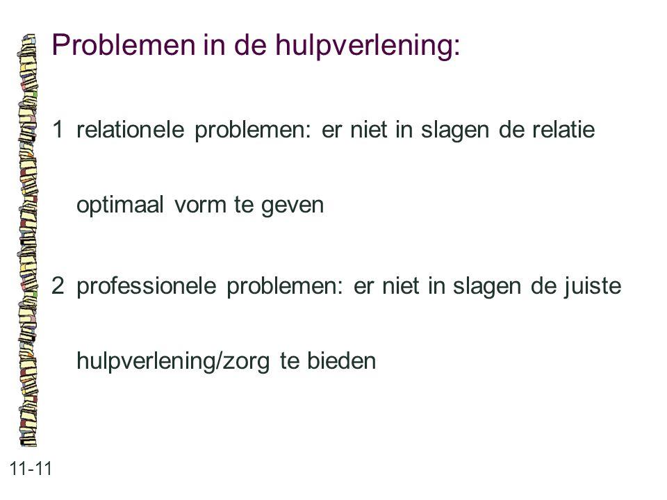 Problemen in de hulpverlening: 11-11 1relationele problemen: er niet in slagen de relatie optimaal vorm te geven 2professionele problemen: er niet in