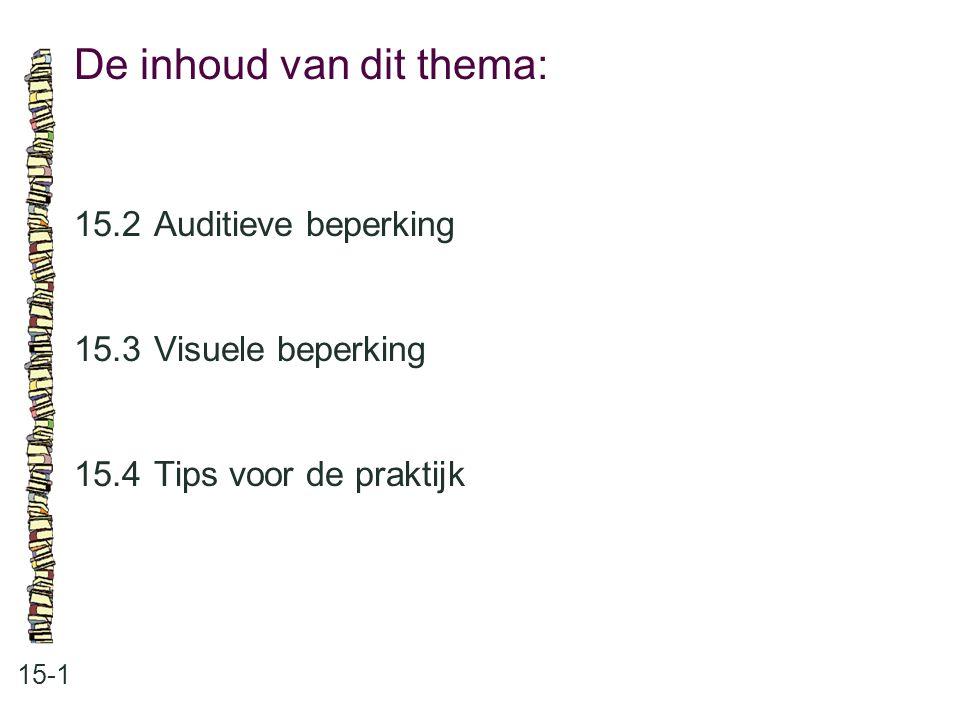 De inhoud van dit thema: 15-1 15.2 Auditieve beperking 15.3 Visuele beperking 15.4 Tips voor de praktijk