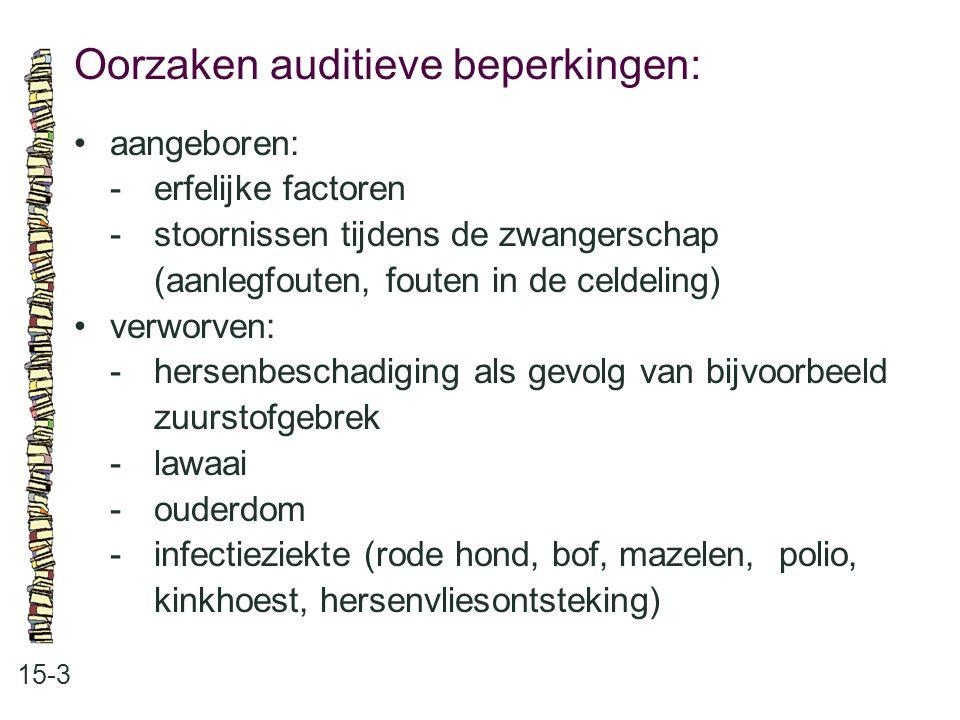 Oorzaken auditieve beperkingen: 15-3 aangeboren: -erfelijke factoren -stoornissen tijdens de zwangerschap (aanlegfouten, fouten in de celdeling) verwo