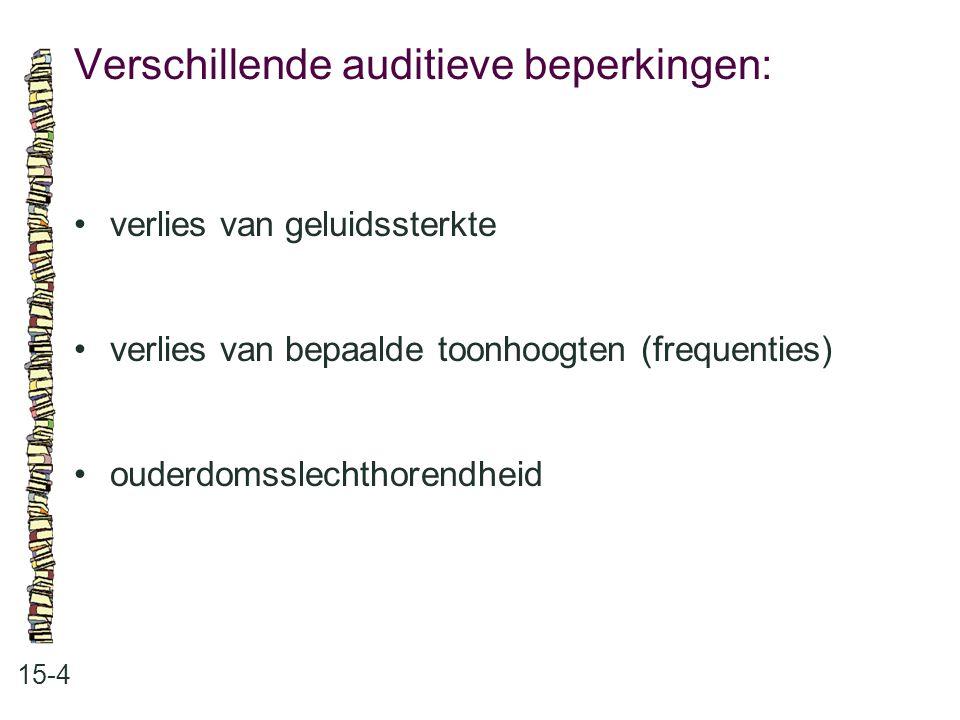 Verschillende auditieve beperkingen: 15-4 verlies van geluidssterkte verlies van bepaalde toonhoogten (frequenties) ouderdomsslechthorendheid