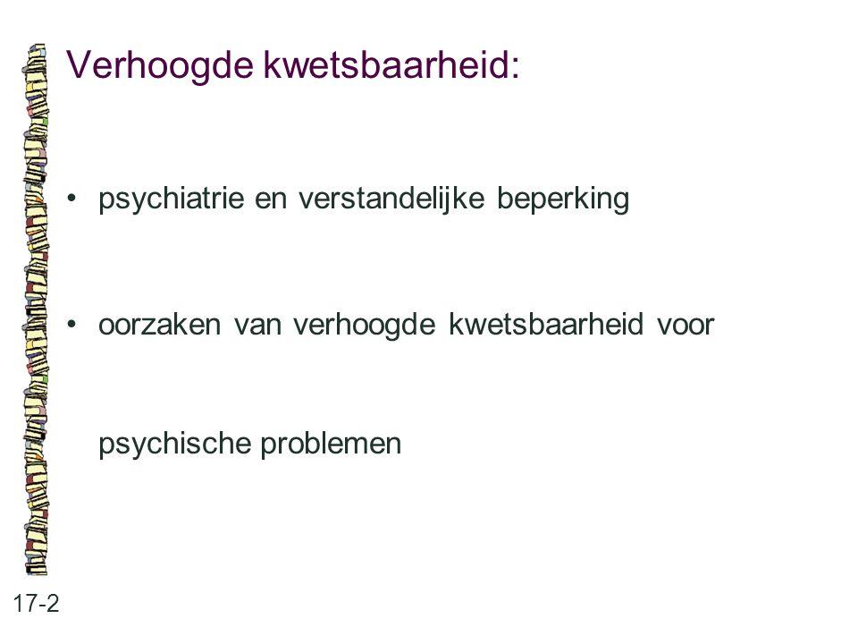 Verhoogde kwetsbaarheid: 17-2 psychiatrie en verstandelijke beperking oorzaken van verhoogde kwetsbaarheid voor psychische problemen