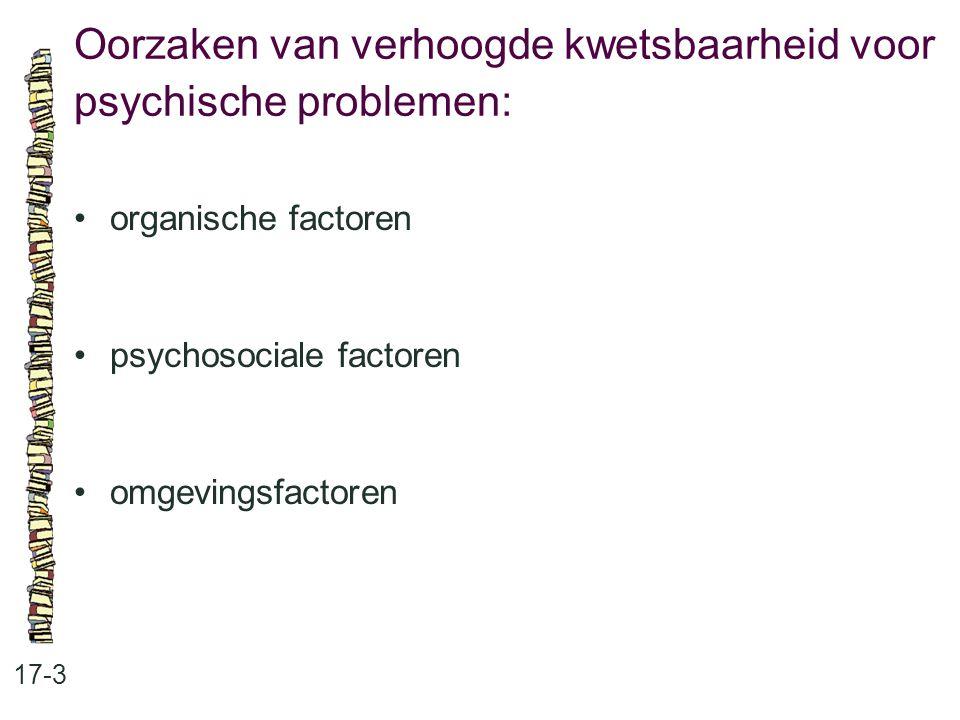 Oorzaken van verhoogde kwetsbaarheid voor psychische problemen: 17-3 organische factoren psychosociale factoren omgevingsfactoren