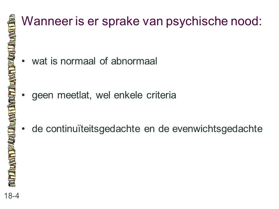 Wanneer is er sprake van psychische nood: 18-4 wat is normaal of abnormaal geen meetlat, wel enkele criteria de continuïteitsgedachte en de evenwichts