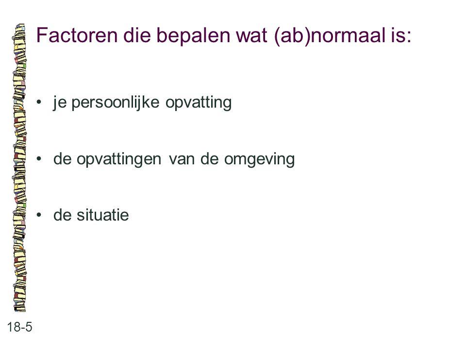 Factoren die bepalen wat (ab)normaal is: 18-5 je persoonlijke opvatting de opvattingen van de omgeving de situatie