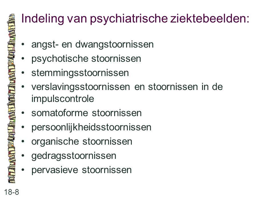 Indeling van psychiatrische ziektebeelden: 18-8 angst- en dwangstoornissen psychotische stoornissen stemmingsstoornissen verslavingsstoornissen en sto