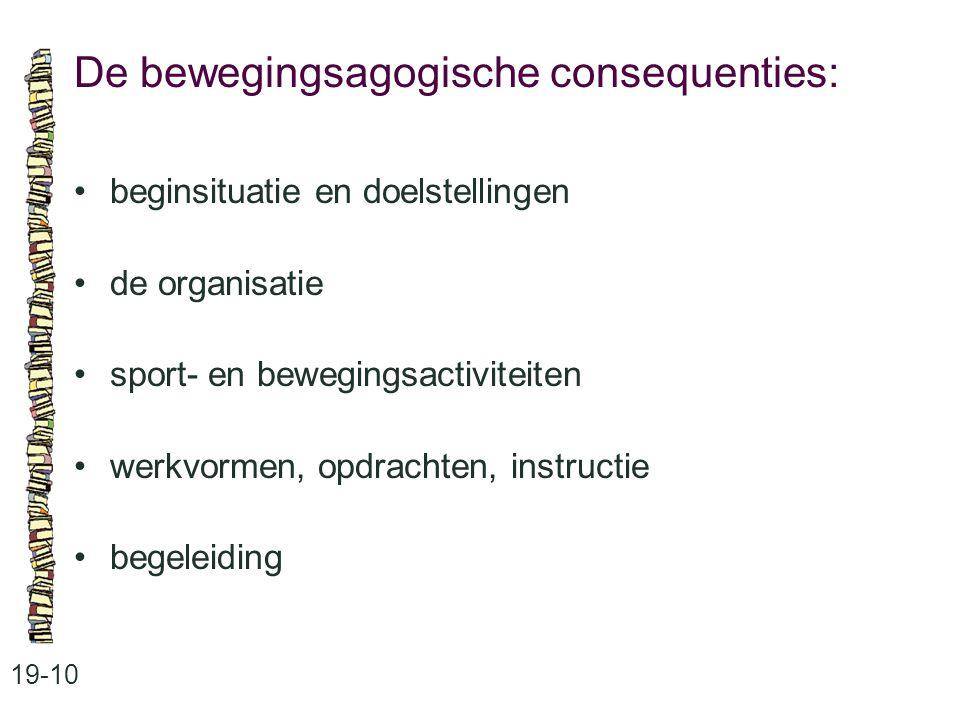 De bewegingsagogische consequenties: 19-10 beginsituatie en doelstellingen de organisatie sport- en bewegingsactiviteiten werkvormen, opdrachten, inst