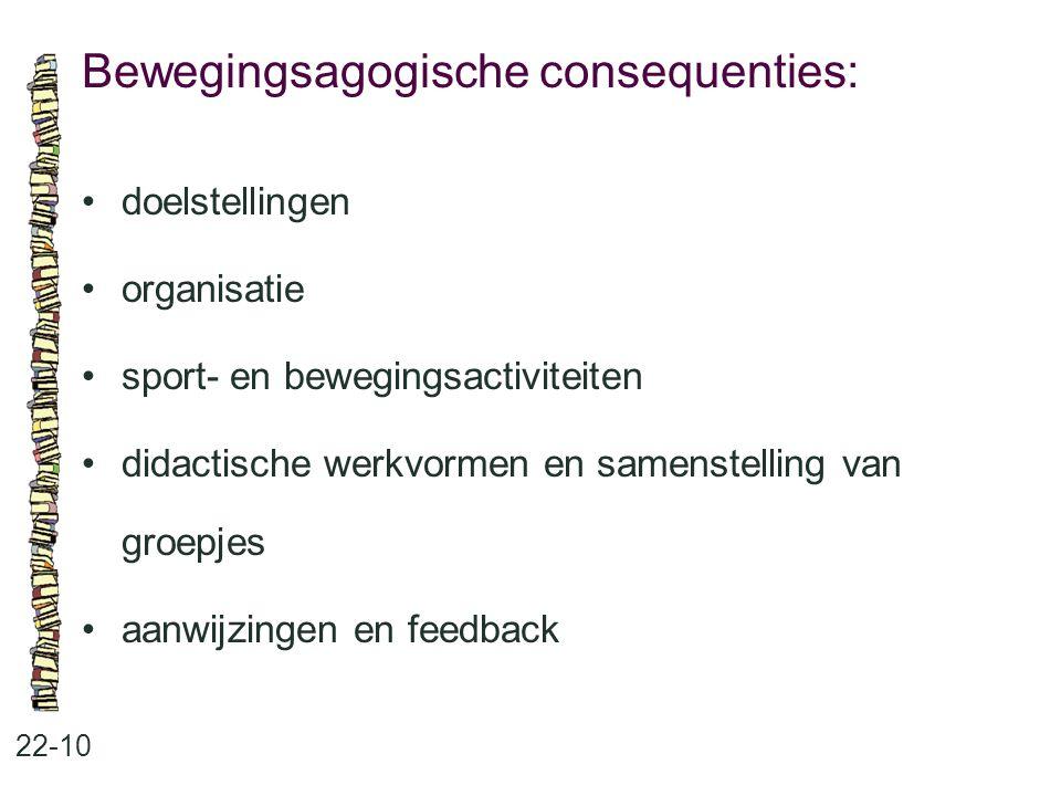 Bewegingsagogische consequenties: 22-10 doelstellingen organisatie sport- en bewegingsactiviteiten didactische werkvormen en samenstelling van groepje