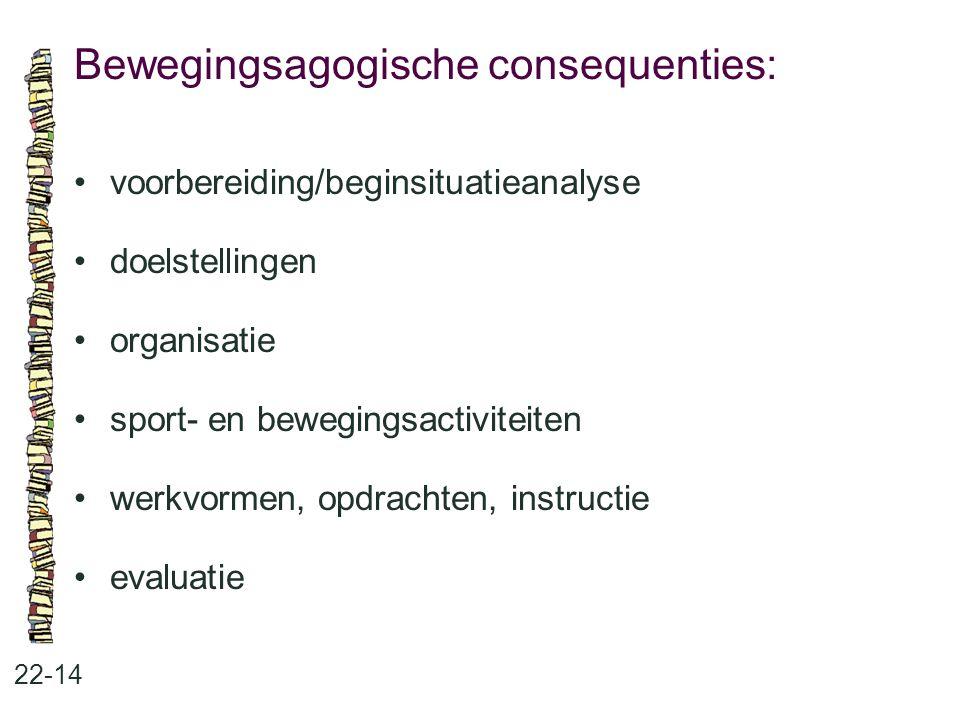 Bewegingsagogische consequenties: 22-14 voorbereiding/beginsituatieanalyse doelstellingen organisatie sport- en bewegingsactiviteiten werkvormen, opdr