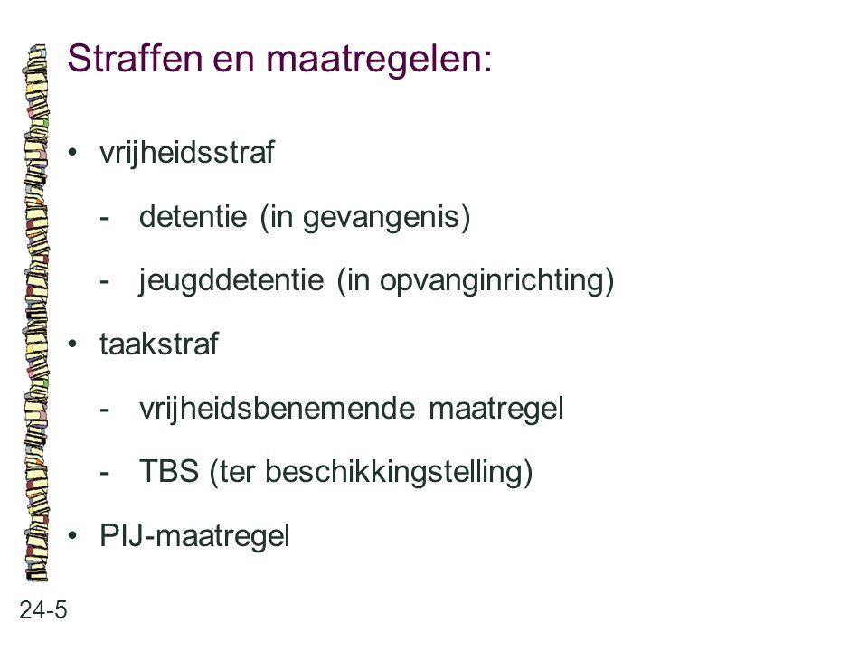 Straffen en maatregelen: 24-5 vrijheidsstraf -detentie (in gevangenis) -jeugddetentie (in opvanginrichting) taakstraf -vrijheidsbenemende maatregel -T