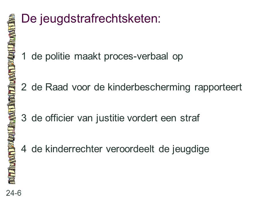 De jeugdstrafrechtsketen: 24-6 1de politie maakt proces-verbaal op 2de Raad voor de kinderbescherming rapporteert 3de officier van justitie vordert ee