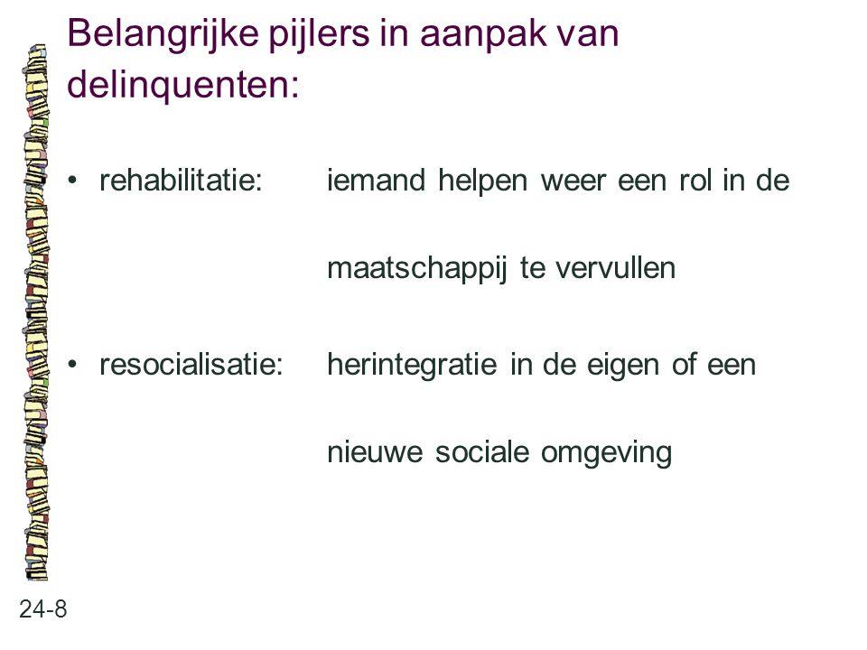 Belangrijke pijlers in aanpak van delinquenten: 24-8 rehabilitatie:iemand helpen weer een rol in de maatschappij te vervullen resocialisatie:herintegr
