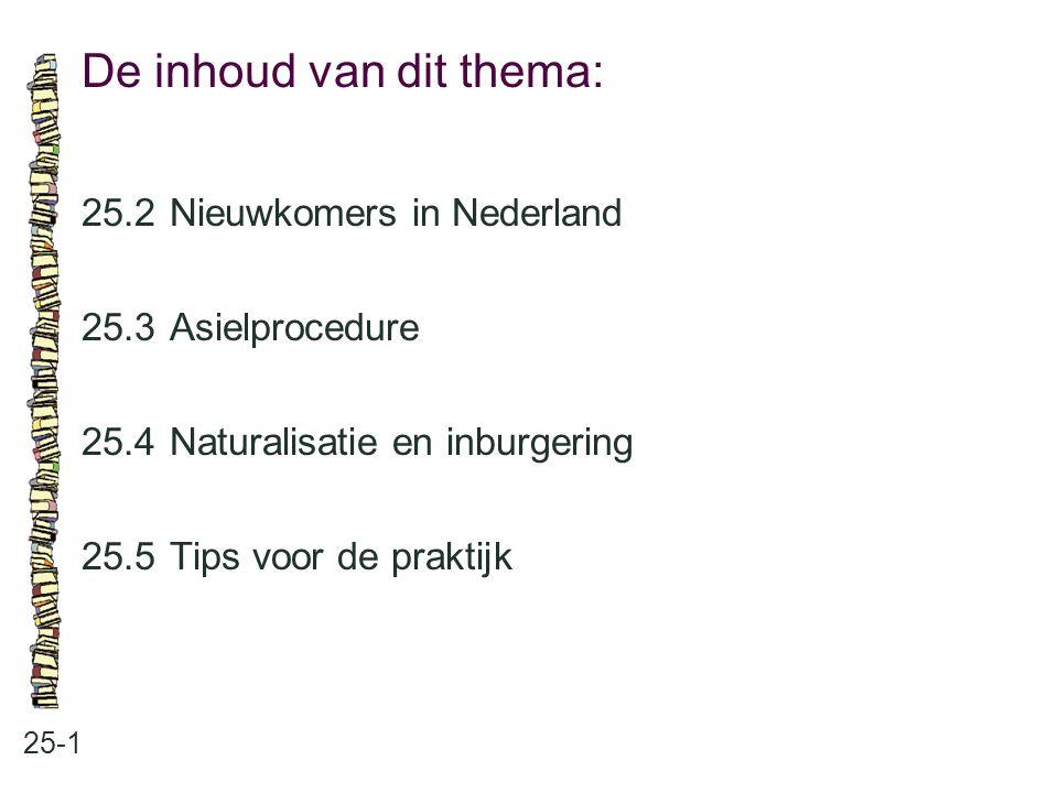 De inhoud van dit thema: 25-1 25.2 Nieuwkomers in Nederland 25.3 Asielprocedure 25.4 Naturalisatie en inburgering 25.5 Tips voor de praktijk