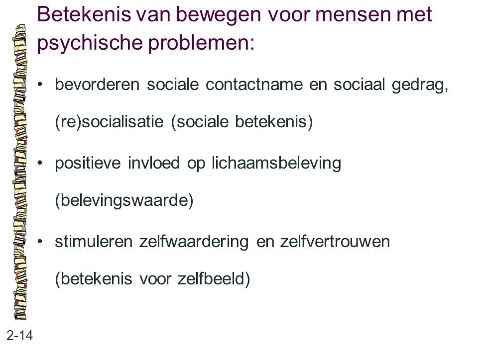 Betekenis van bewegen voor mensen met psychische problemen: 2-14 bevorderen sociale contactname en sociaal gedrag, (re)socialisatie (sociale betekenis