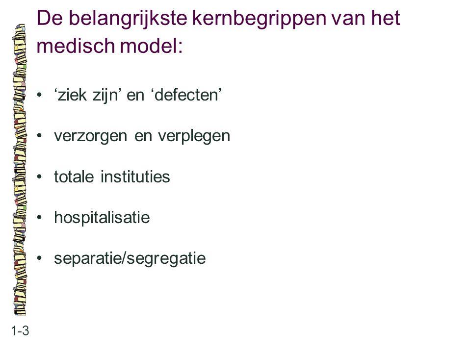 De belangrijkste kernbegrippen van het medisch model: 1-3 'ziek zijn' en 'defecten' verzorgen en verplegen totale instituties hospitalisatie separatie
