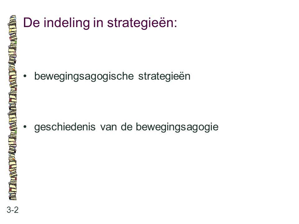 De indeling in strategieën: 3-2 bewegingsagogische strategieën geschiedenis van de bewegingsagogie