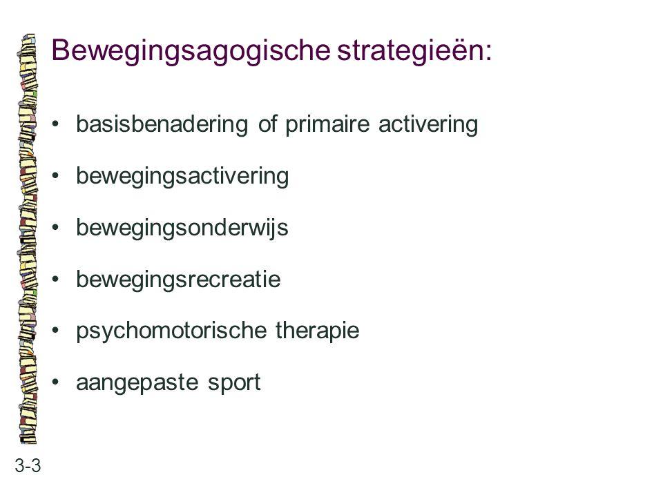 Bewegingsagogische strategieën: 3-3 basisbenadering of primaire activering bewegingsactivering bewegingsonderwijs bewegingsrecreatie psychomotorische