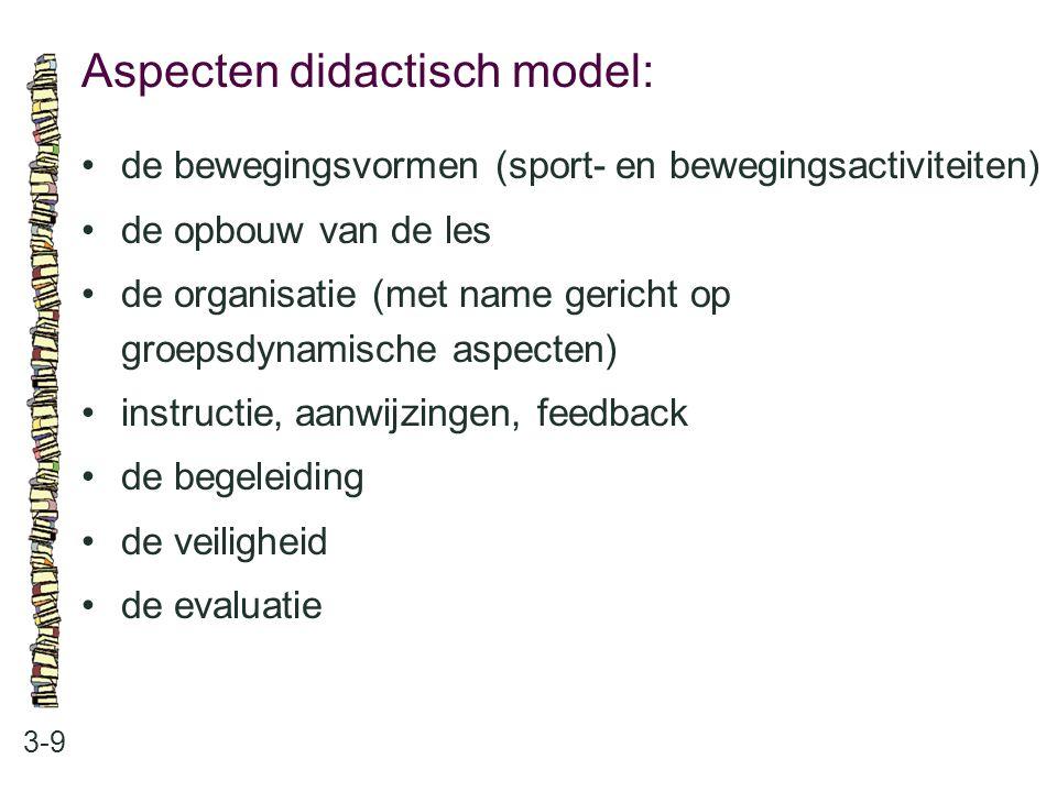 Aspecten didactisch model: 3-9 de bewegingsvormen (sport- en bewegingsactiviteiten) de opbouw van de les de organisatie (met name gericht op groepsdyn