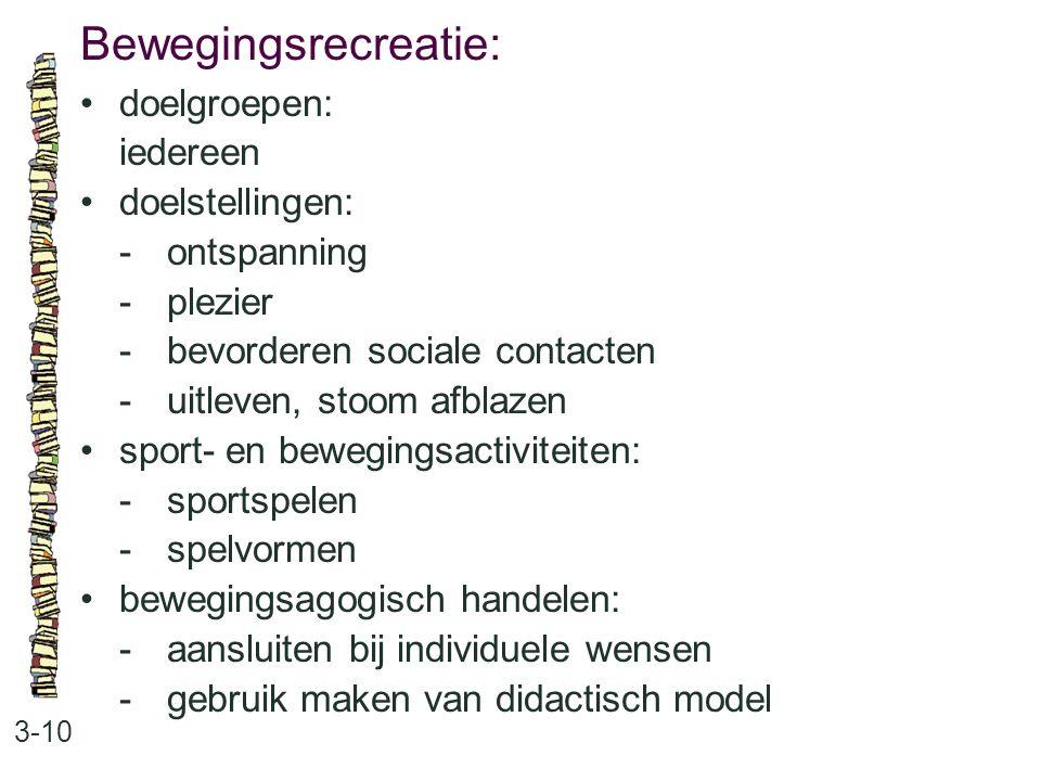 Bewegingsrecreatie: 3-10 doelgroepen: iedereen doelstellingen: -ontspanning -plezier -bevorderen sociale contacten -uitleven, stoom afblazen sport- en