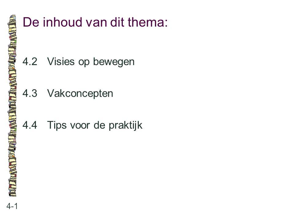 De inhoud van dit thema: 4-1 4.2Visies op bewegen 4.3 Vakconcepten 4.4 Tips voor de praktijk