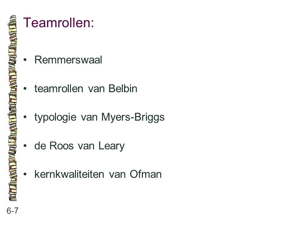 Teamrollen: 6-7 Remmerswaal teamrollen van Belbin typologie van Myers-Briggs de Roos van Leary kernkwaliteiten van Ofman