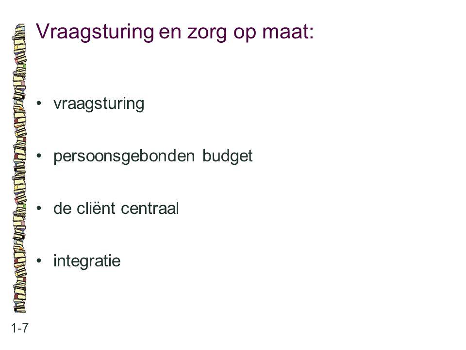 Vraagsturing en zorg op maat: 1-7 vraagsturing persoonsgebonden budget de cliënt centraal integratie