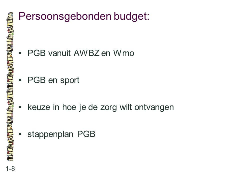 Persoonsgebonden budget: 1-8 PGB vanuit AWBZ en Wmo PGB en sport keuze in hoe je de zorg wilt ontvangen stappenplan PGB