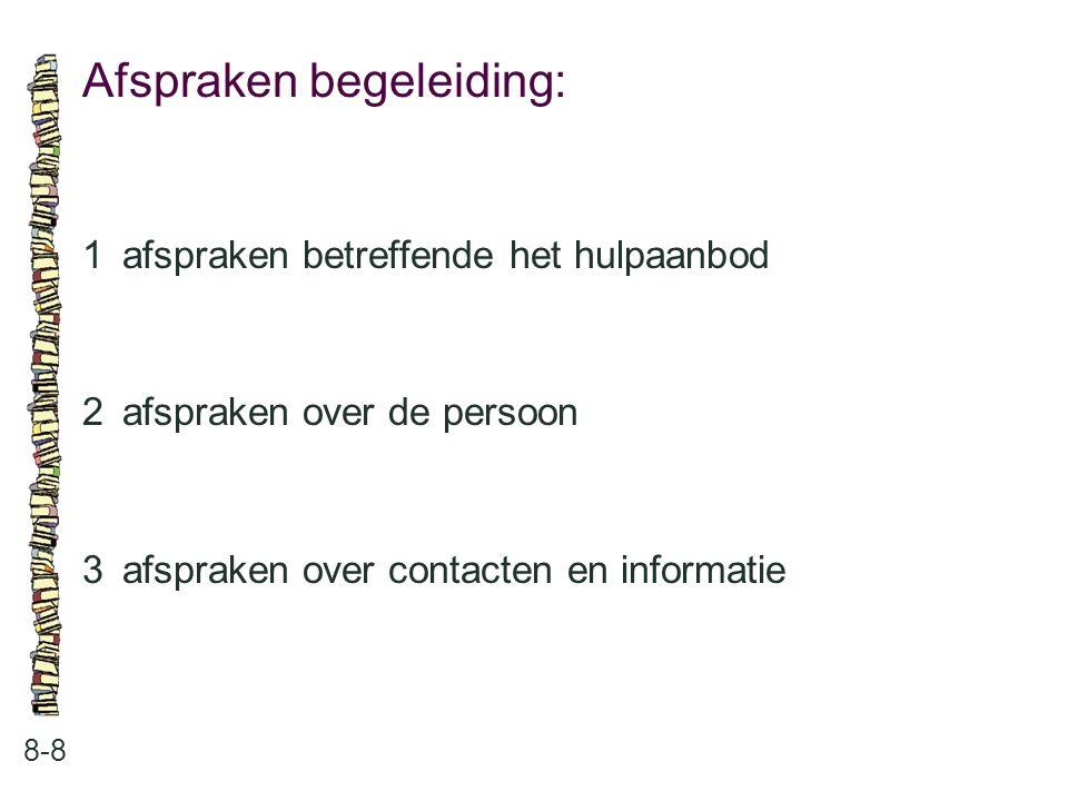Afspraken begeleiding: 8-8 1afspraken betreffende het hulpaanbod 2afspraken over de persoon 3afspraken over contacten en informatie