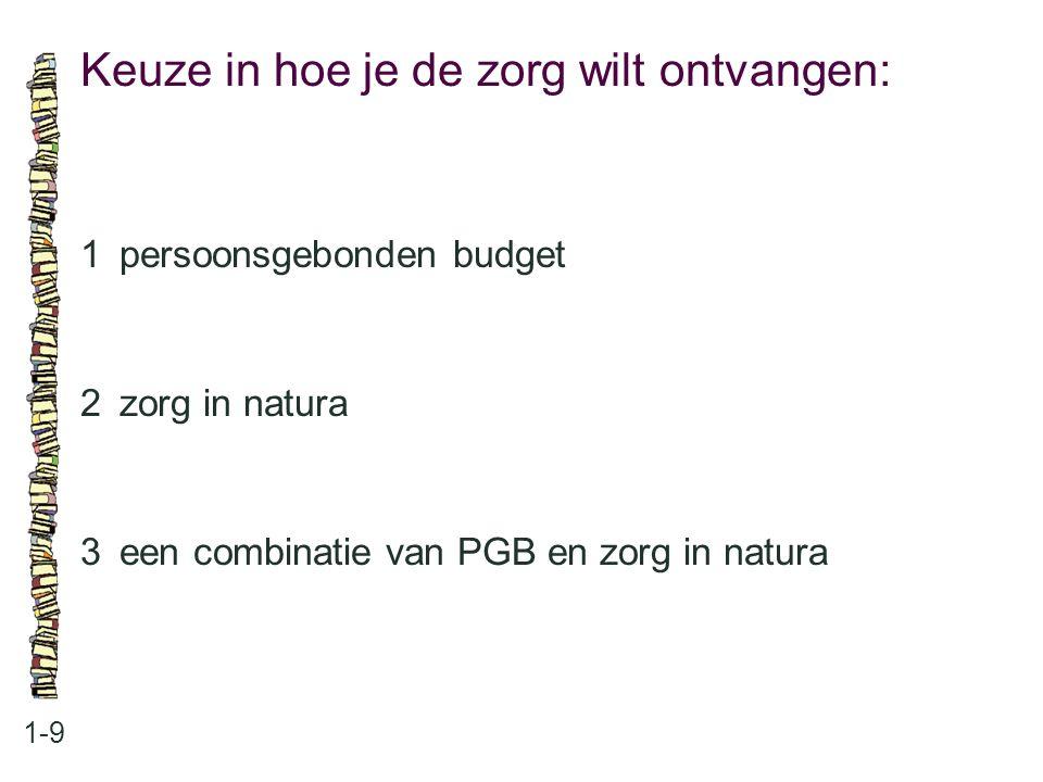 Keuze in hoe je de zorg wilt ontvangen: 1-9 1persoonsgebonden budget 2zorg in natura 3een combinatie van PGB en zorg in natura
