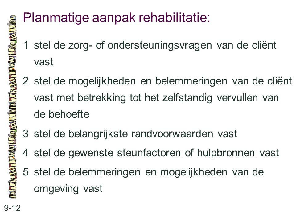 Planmatige aanpak rehabilitatie: 9-12 1stel de zorg- of ondersteuningsvragen van de cliënt vast 2stel de mogelijkheden en belemmeringen van de cliënt
