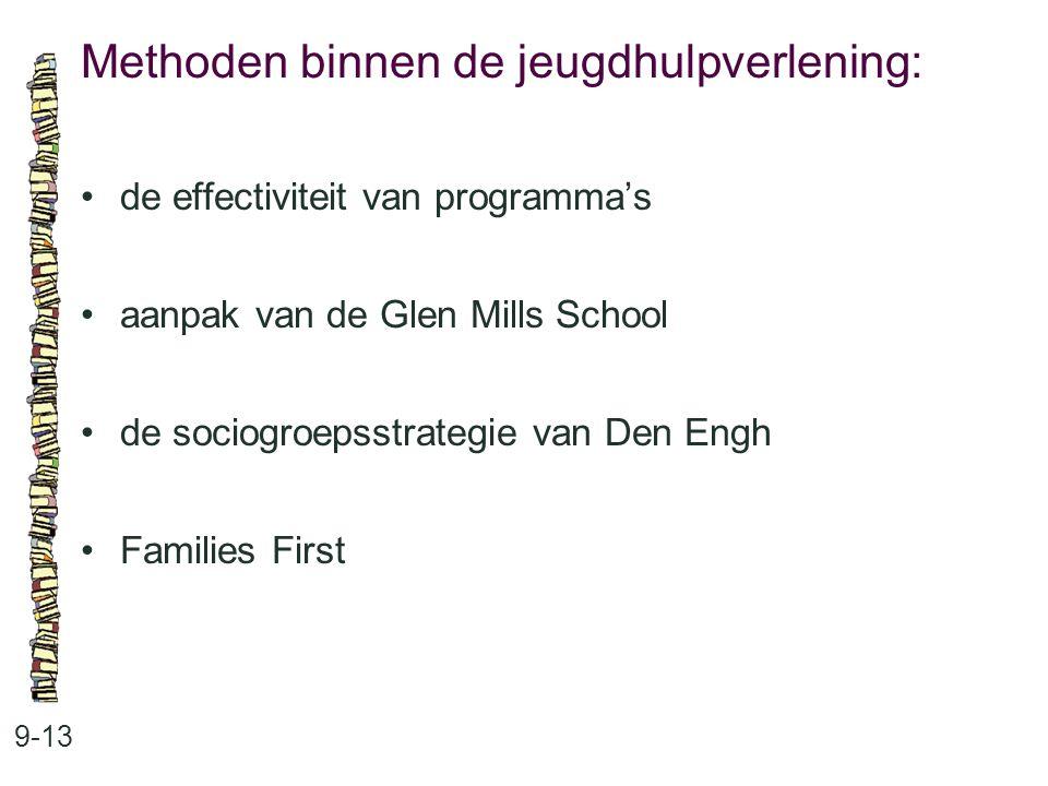 Methoden binnen de jeugdhulpverlening: 9-13 de effectiviteit van programma's aanpak van de Glen Mills School de sociogroepsstrategie van Den Engh Fami