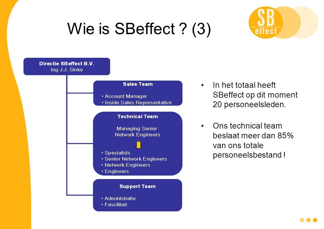 Wie is SBeffect ? (3) In het totaal heeft SBeffect op dit moment 20 personeelsleden. Ons technical team beslaat meer dan 85% van ons totale personeels