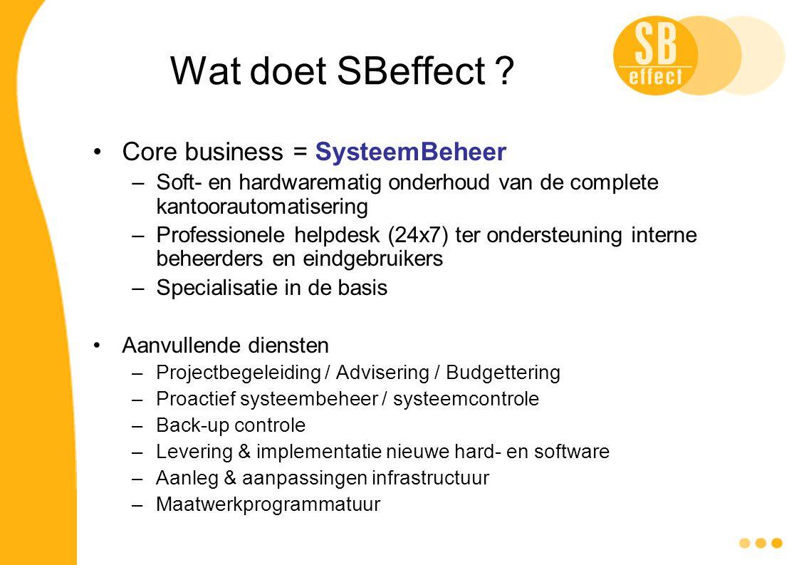 Wat doet SBeffect ? Core business = SysteemBeheer –Soft- en hardwarematig onderhoud van de complete kantoorautomatisering –Professionele helpdesk (24x