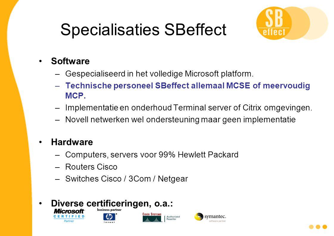 Specialisaties SBeffect Software –Gespecialiseerd in het volledige Microsoft platform. –Technische personeel SBeffect allemaal MCSE of meervoudig MCP.