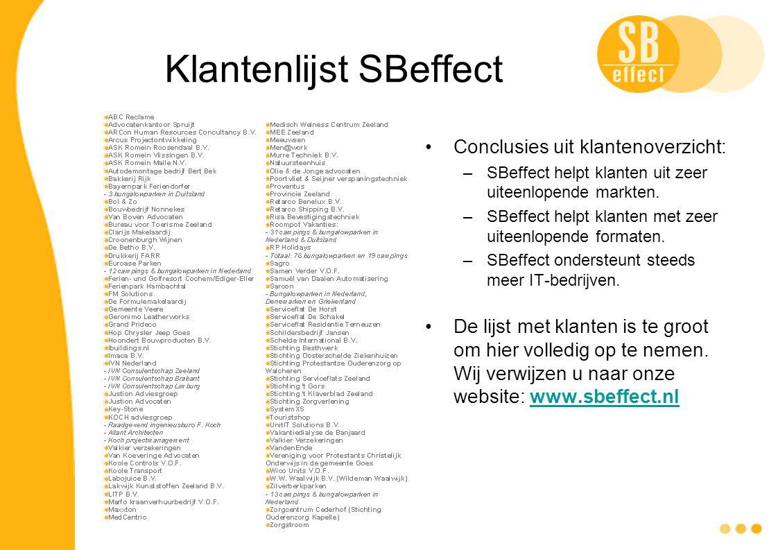 Klantenlijst SBeffect Conclusies uit klantenoverzicht: –SBeffect helpt klanten uit zeer uiteenlopende markten. –SBeffect helpt klanten met zeer uiteen