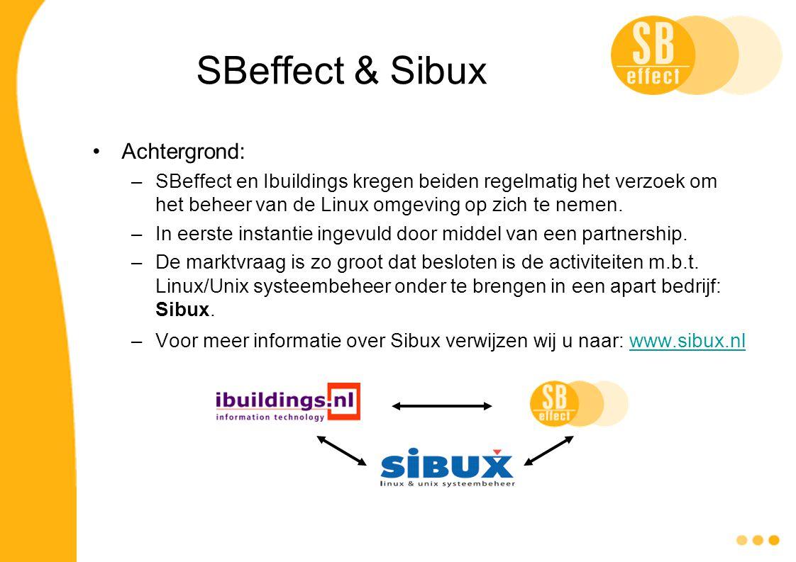 SBeffect & Sibux Achtergrond: –SBeffect en Ibuildings kregen beiden regelmatig het verzoek om het beheer van de Linux omgeving op zich te nemen. –In e
