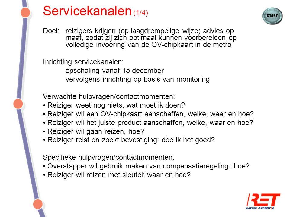 Servicekanalen (1/4) Doel:reizigers krijgen (op laagdrempelige wijze) advies op maat, zodat zij zich optimaal kunnen voorbereiden op volledige invoeri