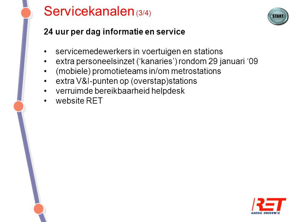Servicekanalen (3/4) 24 uur per dag informatie en service servicemedewerkers in voertuigen en stations extra personeelsinzet ('kanaries') rondom 29 ja