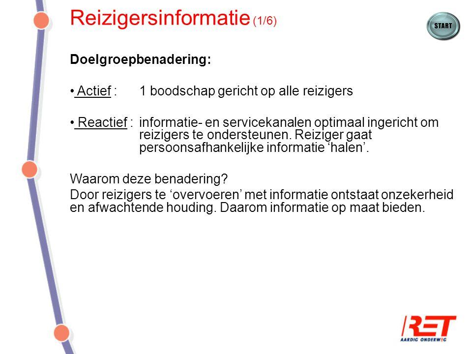 Reizigersinformatie (1/6) Doelgroepbenadering: Actief : 1 boodschap gericht op alle reizigers Reactief :informatie- en servicekanalen optimaal ingeric
