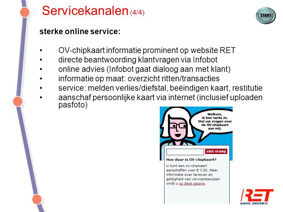 Servicekanalen (4/4) sterke online service: OV-chipkaart informatie prominent op website RET directe beantwoording klantvragen via Infobot online advi