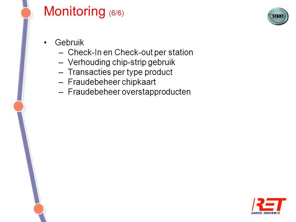 Monitoring (6/6) Gebruik –Check-In en Check-out per station –Verhouding chip-strip gebruik –Transacties per type product –Fraudebeheer chipkaart –Frau
