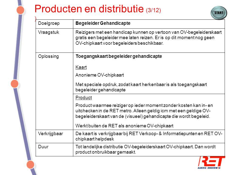 Producten en distributie (3/12) ) DoelgroepBegeleider Gehandicapte VraagstukReizigers met een handicap kunnen op vertoon van OV-begeleiderskaart grati
