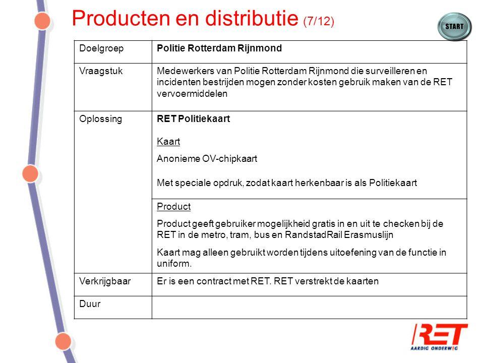 Producten en distributie (7/12) DoelgroepPolitie Rotterdam Rijnmond VraagstukMedewerkers van Politie Rotterdam Rijnmond die surveilleren en incidenten