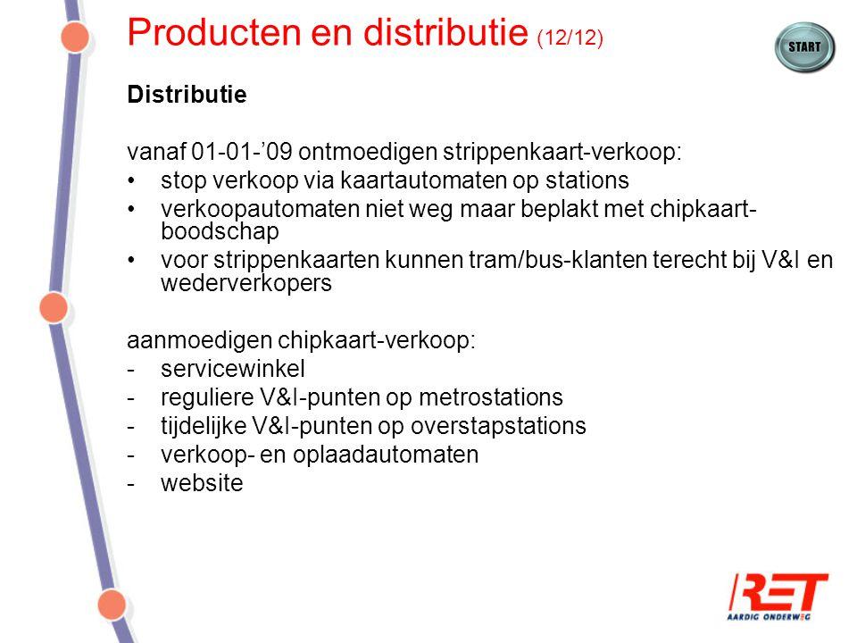 Producten en distributie (12/12) Distributie vanaf 01-01-'09 ontmoedigen strippenkaart-verkoop: stop verkoop via kaartautomaten op stations verkoopaut