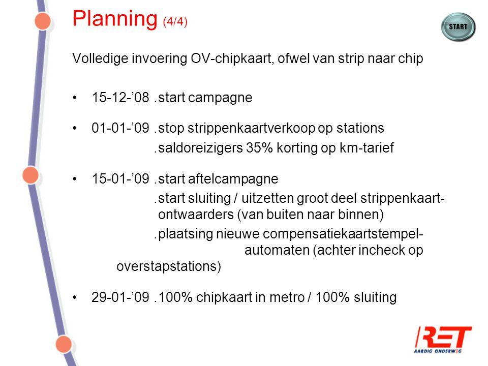 Planning (4/4) Volledige invoering OV-chipkaart, ofwel van strip naar chip 15-12-'08.start campagne 01-01-'09.stop strippenkaartverkoop op stations.sa