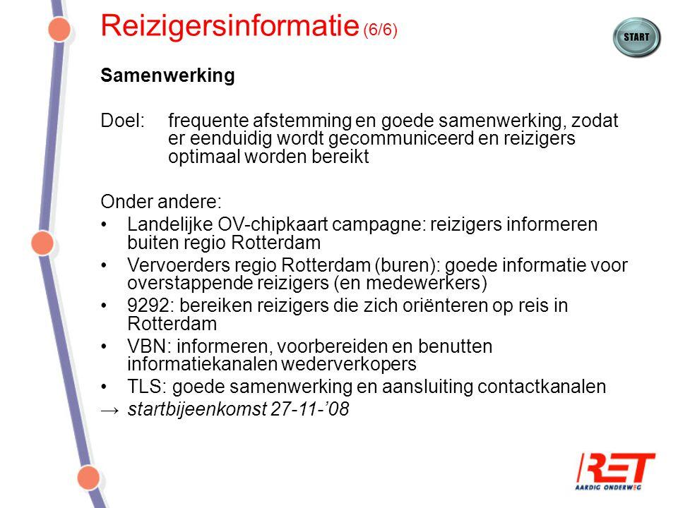 Campagne (1/9) Doel: Rotterdamse reizigers (zowel frequente als incidentele) informeren over volledige invoering OV-chipkaart in metro, zodat zij zich bij servicekanalen laten informeren Campagneperiode: 15 december - 29 januari Middelen: Abri's Stickers/posters in voertuigen en in/om stations Voertuigbestickering Advertenties (+ redactioneel) regionale media TV en radiospotjes Internet banners (RET en 9292) Citydressing en ludieke acties in stad Website