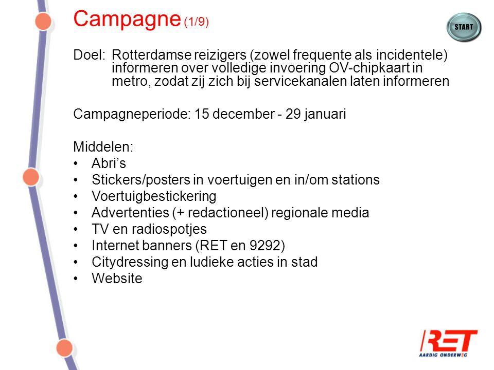 Campagne (1/9) Doel: Rotterdamse reizigers (zowel frequente als incidentele) informeren over volledige invoering OV-chipkaart in metro, zodat zij zich