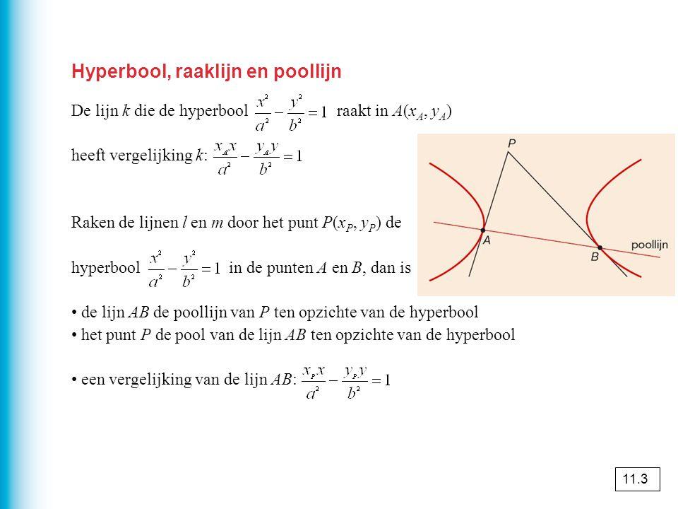 Hyperbool, raaklijn en poollijn De lijn k die de hyperbool raakt in A(x A, y A ) heeft vergelijking k: Raken de lijnen l en m door het punt P(x P, y P