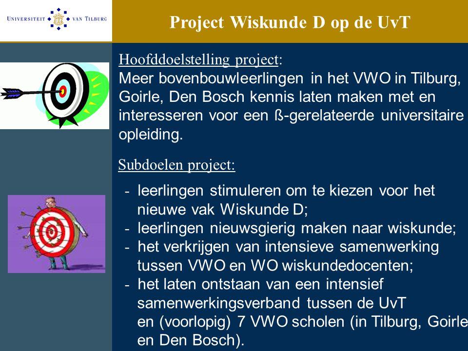 Project Wiskunde D op de UvT Hoofddoelstelling project: Meer bovenbouwleerlingen in het VWO in Tilburg, Goirle, Den Bosch kennis laten maken met en in